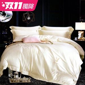 【貝兒寢飾】PLAYBOY 裸睡系列60支素色萊賽爾天絲兩用被床包組(雙人/路易斯)