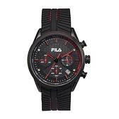 【FILA 斐樂】三眼編織紋錶面設計腕錶-帥氣紅/38-176-001/台灣總代理公司貨享兩年保固