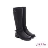 effie 混搭美型 仿麂皮絨布防潑水素面雙扣長筒靴  黑