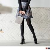 《CA1197》碎花格子設計毛呢A字短裙 OrangeBear