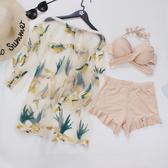 新款泳衣女三件套比基尼性感透明網紗韓國刺繡泡溫泉小香風遊泳裝
