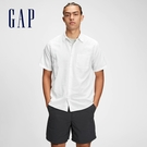 Gap男裝 亞麻工裝風素色短袖襯衫 737774-白色