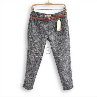 YOZI品牌秋冬新款韓版花呢卷邊哈倫褲配腰帶ZC163