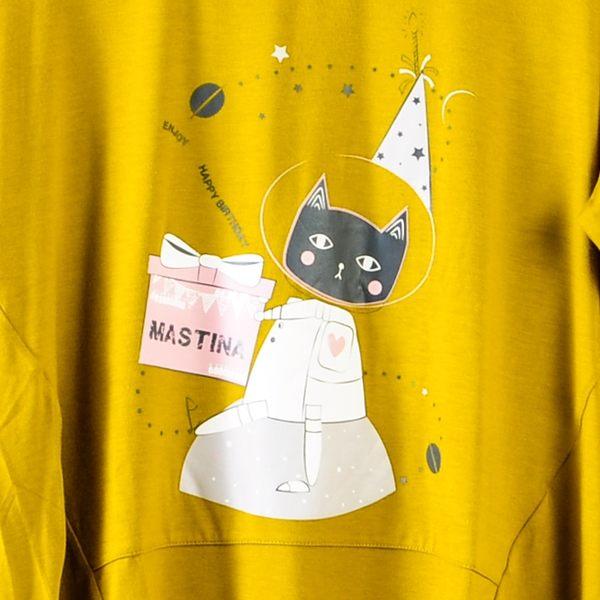 【MASTINA】巨蛋十周年聯名T恤(太空貓)-深黃  秋裝限定嚴選