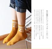 5雙二杠數字條紋中筒襪女