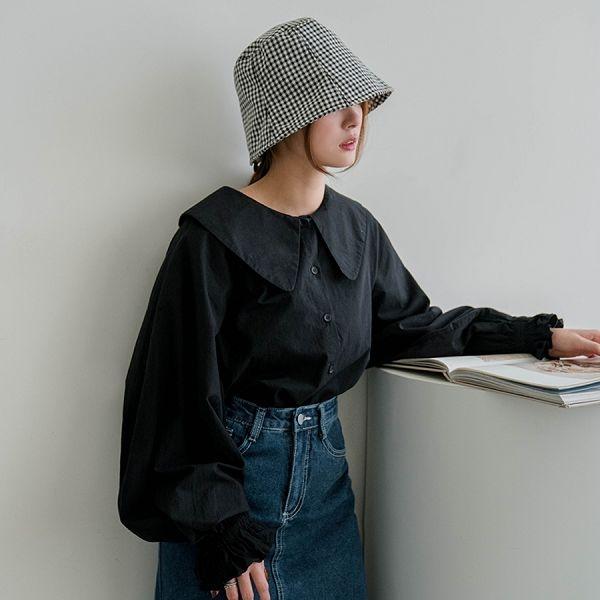 現貨-MIUSTAR 大領子縮口荷葉澎袖襯衫(共4色)【NJ0321】