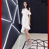 魚尾晚禮服女2018新款宴會高貴優雅白色短款性感名媛聚會小禮服裙