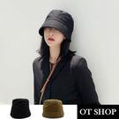 [現貨]帽子 漁夫帽 水桶帽 盆帽 遮陽帽 可折疊純色棉質 休閒文青穿搭配件 黑/卡其色 C2101 OT SHOP