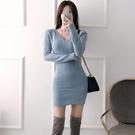 歐媛韓版 長袖洋裝 春秋新款女裝氣質V領修身針織螺紋休閒打底裙包臀顯瘦連身裙