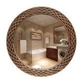 週年慶優惠-歐式鏡子壁掛衛生間浴室鏡洗手間梳妝台化妝鏡圓形衛浴鏡臥室貼牆