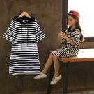 兒童洋裝 女童洋裝T恤裙中長款2020新款韓版中大童兒童條紋短袖休閒裙子