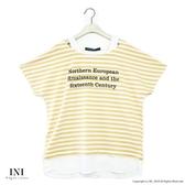 【INI】穿著設計、假兩件式好感條紋上衣.黃色