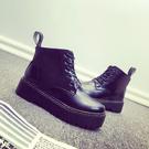 Dingle丁果ღ英倫風綁帶厚底短靴*黑