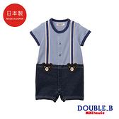 DOUBLE_B 日本製 假兩件式吊帶褲