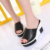 厚底涼鞋 2021新款女鞋鬆糕底魚嘴女拖鞋坡跟厚底性感高跟一字型涼鞋女家直 17育心