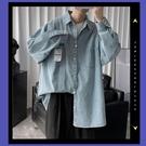 男裝牛仔襯衣男士秋季韓版潮流淺色長袖襯衫外套上衣