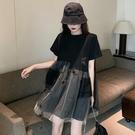 網紗洋裝 黑色洋裝女2020新款夏季高腰...