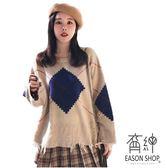 EASON SHOP(GU9761)韓版撞色刷破洞不規則剪裁流蘇邊OVERSIZE長袖毛衣羅紋針織女上衣服寬鬆紅色