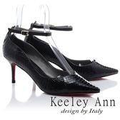 ★2018春夏★Keeley Ann韓式風潮~蛇紋波浪造型細帶飾釦真皮高跟鞋(黑色) -Ann系列