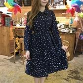 森女系洋裝 早春日系元寶領點點印花水洗森女文藝繫帶收腰襯衫連身裙開衫-Ballet朵朵