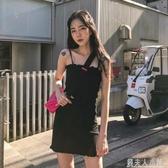 鬼馬少女韓國復古洋氣暗黑系小性感木耳邊針織吊帶修身洋裝短裙 錢夫人