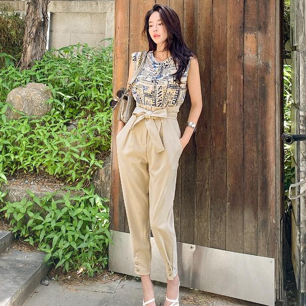 VK旗艦店 韓系時尚字母印花上衣修身長褲套裝無袖褲裝