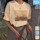 【V3336】shiny藍格子-原宿風.複古印花圓領寬鬆短袖上衣
