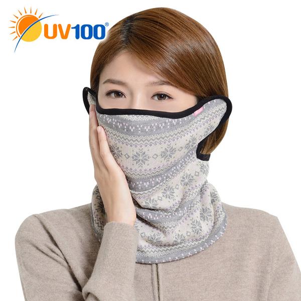 UV100 防曬 抗UV 雪花保暖脖圍+護耳口罩-贈濾片