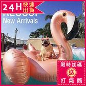 免運★梨卡 - 大型玫瑰金火烈鳥獨角獸造型特色充氣游泳圈座騎坐騎浮排 M089