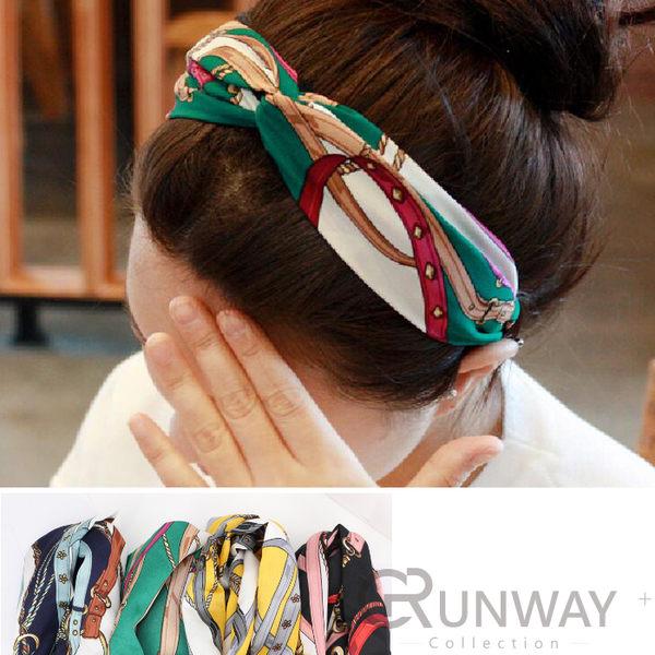 【R】鍊條皮繩 圖案 交叉髮帶 緞面絲巾風格 寬版 氣質 百搭髮飾