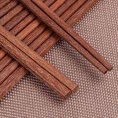 紅檀木筷子無漆無蠟家用防滑木質中式實木家庭裝10雙裝套裝   LannaS