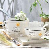 日式大號湯碗可愛創意卡通泡面杯帶蓋飯碗筷家用陶瓷餐具套裝勺子【onecity】