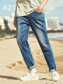 男士修身牛仔褲A21男修身牛仔褲潮流夏季彈力男士小腳褲休閒褲子男小腳長褲 至簡元素