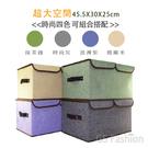 免運【珍昕】 棉麻感雙格雙開收納箱~4色...