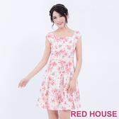 【RED HOUSE 蕾赫斯】條紋花朵背心洋裝(粉色)