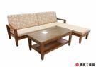 【清祥傢俱】K-501型非洲柚木L型沙發 全實木板椅 大茶几 貴妃(現貨)
