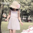 淡粉色輕薄純棉時尚設計蝴蝶結肩帶俏麗背心洋裝