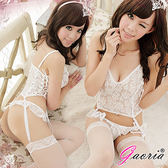 性感馬甲【Gaoria】醉人優雅 透明馬甲吊襪帶組合 情趣睡衣 (不含褲襪) 白