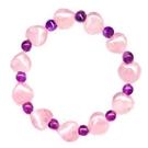 粉晶心與紫晶珠彈性手環...