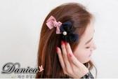 髮夾 韓國 甜美手作雙色蝴蝶結雪紡紗珍珠髮夾彈簧夾S7347  價