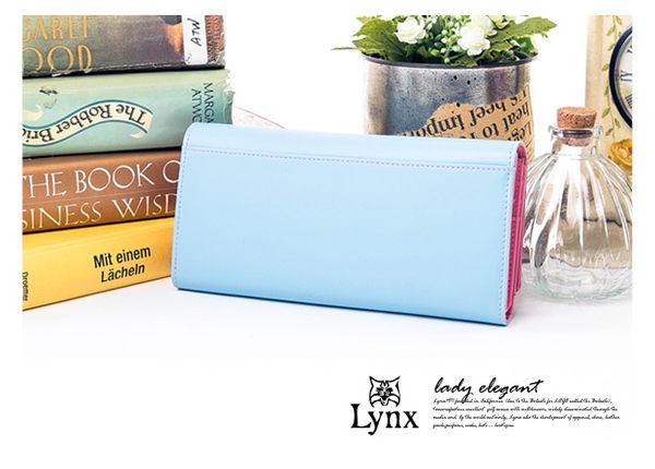 Lynx - 山貓輕熟女真皮糖果色二折內拉鍊長夾 ─ 粉嫩藍
