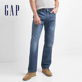 Gap男裝 純棉經典百搭貓須水洗牛仔褲 321602-亮靛藍色