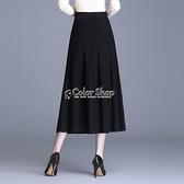 半身長裙 純色針織半身裙女2010新款高腰顯瘦A字毛線中長百褶大擺裙子 SUPER SALE 快速出貨