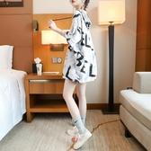 休閒連帽短袖T恤女網紅ins超火夏季2020新款韓版寬鬆慵懶風上衣潮 喵小姐