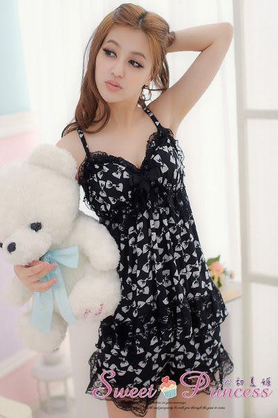 涼感柔滑睡衣 愛戀領結牛奶絲褲裝睡衣組 -繽紛心情(黑)  -沁甜美姬