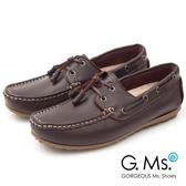 G.Ms. MIT情侶鞋系列-水洗牛皮帆船男鞋*咖啡
