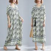 長裙 洋裝 中大尺碼 女裝mm波西米亞文藝遮肚子棉質洋氣中長款V領連衣裙子