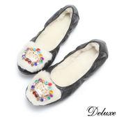 【Deluxe】全真皮毛毛彩鑽皇冠娃娃鞋(黑)