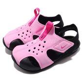 Nike 涼鞋 Sunray Protect 2 TD 粉紅 黑 運動鞋 魔鬼氈 小朋友 小童鞋【PUMP306】 943827-602