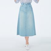 Victoria 純棉淺藍後中開岔長裙-女-淺藍-V90092